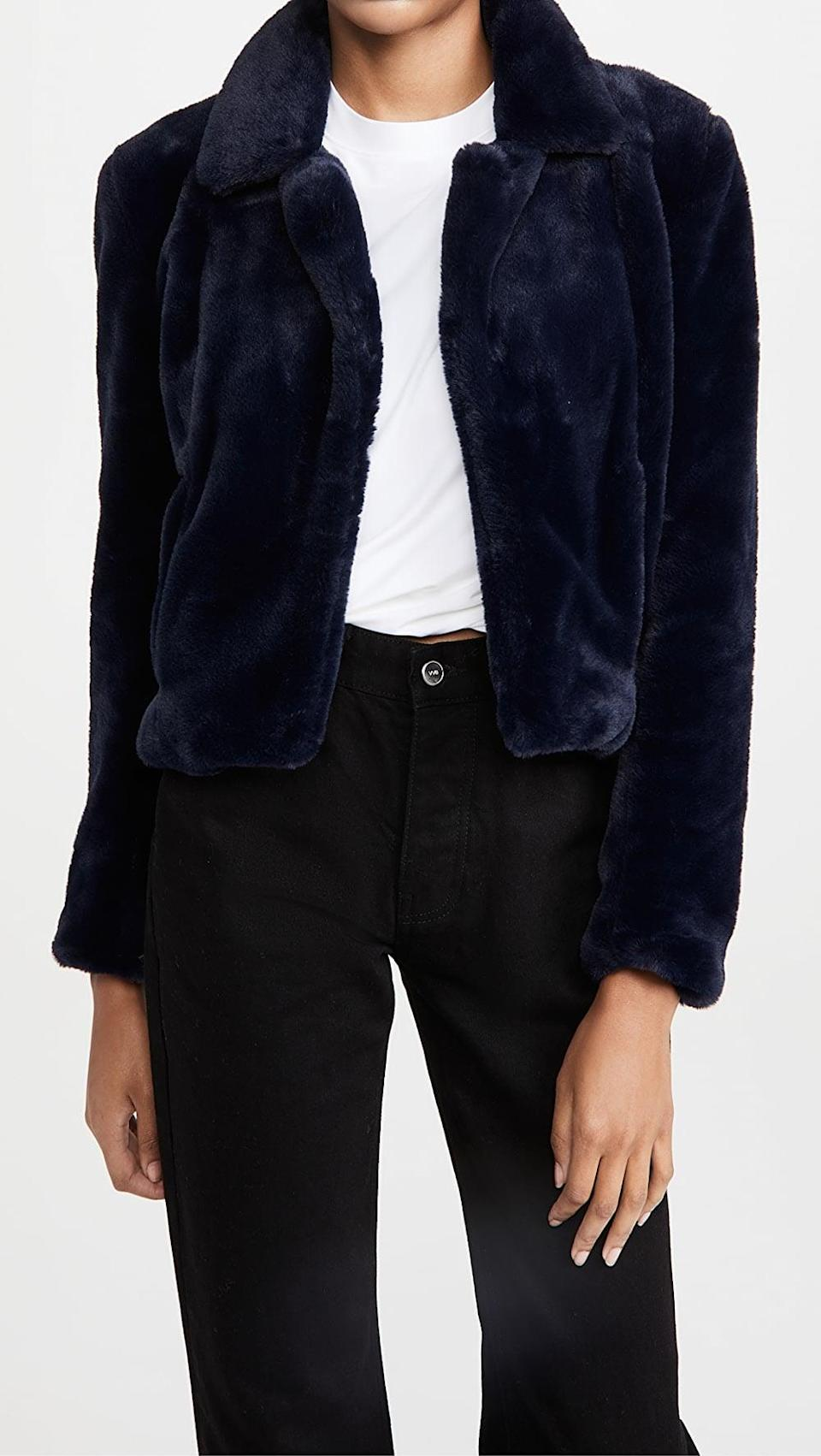 <p>They can stay warm and cozy in this <span>Blank Denim Faux Fur Jacket</span> ($98).</p>
