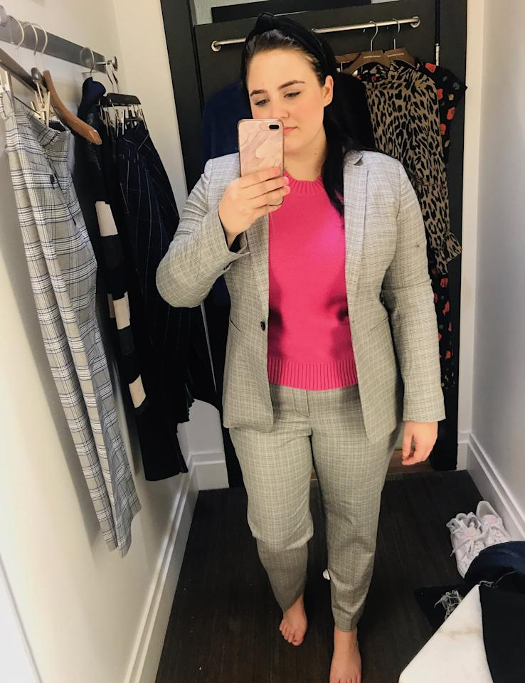 """<p><strong>The Verdict:</strong> To begin, I went with one of the most classic looks Banana Republic is known for: a suit. I loved the fit - more slender for a modern look - and the fabric felt so well made. For a pop of color, I added this hot pink sweater, which didn't feel too bulky under the blazer.</p> <p><strong>The Pieces:</strong><br> <a href=""""https://www.popsugar.com/buy/Supersoft-Cotton-Crew-Neck-Sweater-539269?p_name=Supersoft%20Cotton%20Crew-Neck%20Sweater&retailer=bananarepublic.gap.com&pid=539269&price=47&evar1=fab%3Auk&evar9=47096568&evar98=https%3A%2F%2Fwww.popsugar.com%2Ffashion%2Fphoto-gallery%2F47096568%2Fimage%2F47096579%2FGray-Plaid-Suit-Pink-Sweater&list1=shopping%2Cbanana%20republic%2Ceditors%20pick%2Cwinter%20fashion%2Cfashion%20shopping&prop13=api&pdata=1"""" rel=""""nofollow"""" data-shoppable-link=""""1"""" target=""""_blank"""" class=""""ga-track"""" data-ga-category=""""Related"""" data-ga-label=""""https://bananarepublic.gap.com/browse/product.do?pid=518898022&amp;pcid=999#pdp-page-content"""" data-ga-action=""""In-Line Links"""">Supersoft Cotton Crew-Neck Sweater</a> ($47, originally $80)</p> <p><a href=""""https://www.popsugar.com/buy/Long-amp-Lean-Fit-Plaid-Blazer-539270?p_name=Long%20%26amp%3B%20Lean-Fit%20Plaid%20Blazer&retailer=bananarepublic.gap.com&pid=539270&price=199&evar1=fab%3Auk&evar9=47096568&evar98=https%3A%2F%2Fwww.popsugar.com%2Ffashion%2Fphoto-gallery%2F47096568%2Fimage%2F47096579%2FGray-Plaid-Suit-Pink-Sweater&list1=shopping%2Cbanana%20republic%2Ceditors%20pick%2Cwinter%20fashion%2Cfashion%20shopping&prop13=api&pdata=1"""" rel=""""nofollow"""" data-shoppable-link=""""1"""" target=""""_blank"""" class=""""ga-track"""" data-ga-category=""""Related"""" data-ga-label=""""https://bananarepublic.gap.com/browse/product.do?pid=537753002&amp;cid=87056&amp;pcid=87056&amp;vid=1&amp;grid=pds_5_63_1&amp;cpos=5&amp;cexp=1428&amp;cid=CategoryIDs%3D87056&amp;cvar=10475&amp;ctype=Listing&amp;cpid=res2001121419224488651018#pdp-page-content"""" data-ga-action=""""In-Line Links"""">Long &amp; Lean-Fit Plaid Blazer</a> ($199)</p>"""