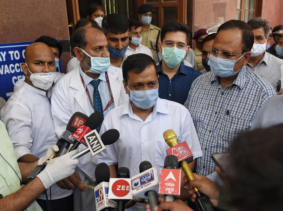 NEW DELHI, INDIA  APRIL 10: Delhi Chief Minister Arvind Kejriwal interacts with the media after taking stock of arrangements, at LNJP Hospital, on April 10, 2021 in New Delhi, India. Amid escalating cases of COVID-19 in Delhi, Arvind Kejriwal said lockdown is