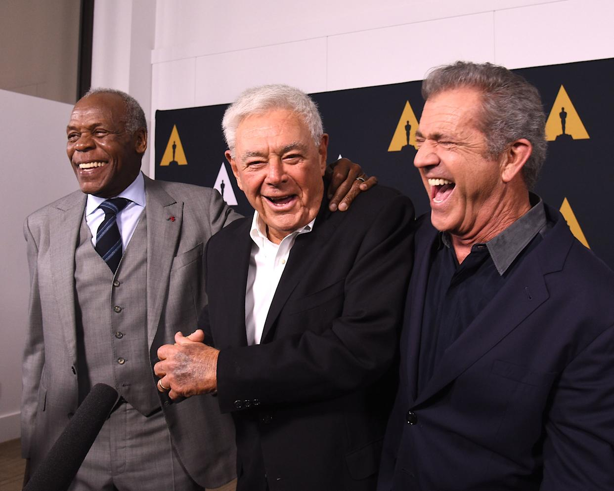 BEVERLY HILLS, CA - JUNE 07:  (L-R) Danny Glover, Richard Donner and Mel Gibson arrive at The Academy Celebrates Filmmaker Richard Donner at Samuel Goldwyn Theater on June 7, 2017 in Beverly Hills, California.  (Photo by Joshua Blanchard/Getty Images)