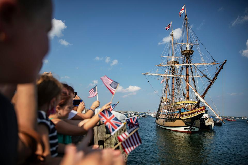 The Mayflower II – a replica of the 17th century ship Mayflower - getty