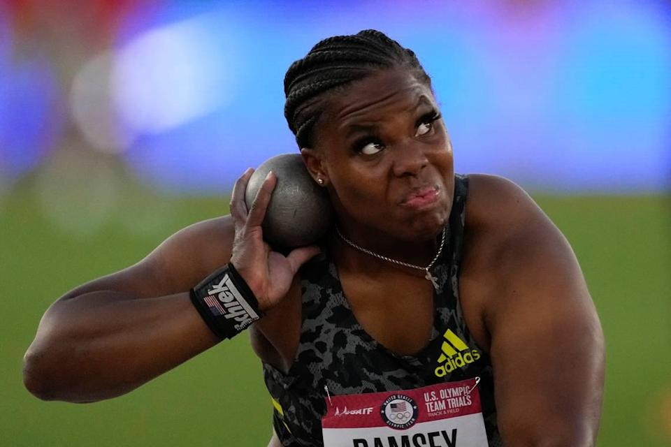 Jessica Ramsey competes during the finals of the women's shot put on Thursday night. The former WKU standout earned a spot in the Olympics with a throw of 66 feet, one-quarter inch.