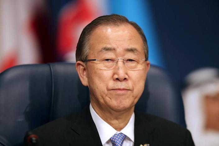 UN Secretary General Ban Ki-moon attends the opening ceremony of the Second International Humanitarian Pledging Conference for Syria at Bayan palace in Kuwait City, on March 31, 2015 (AFP Photo/)