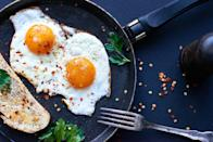 """<p>Get cracking! """"Eggs are a great source of protein and biotin, which are both important for healthy hair and growth,"""" Dr. Klein says. <a href=""""https://www.prevention.com/beauty/hair/g23724399/best-vitamins-hair-growth/"""" rel=""""nofollow noopener"""" target=""""_blank"""" data-ylk=""""slk:Biotin"""" class=""""link rapid-noclick-resp"""">Biotin</a> keeps enzymes buzzing to metabolize nutrients, like fats and carbs, that nourish hair follicles. </p><p>Plus, eggs yolks in particular are potent in vitamin D, which is important to get via diet or supplementation since our bodies don't produce it naturally, says <a href=""""http://www.dryoun.com/"""" rel=""""nofollow noopener"""" target=""""_blank"""" data-ylk=""""slk:Anthony Youn, M.D."""" class=""""link rapid-noclick-resp"""">Anthony Youn, M.D.</a>, a board-certified plastic surgeon in Troy, MI. Just <a href=""""https://ods.od.nih.gov/factsheets/VitaminD-HealthProfessional/"""" rel=""""nofollow noopener"""" target=""""_blank"""" data-ylk=""""slk:one large egg has about 41 IU"""" class=""""link rapid-noclick-resp"""">one large egg has about 41 IU</a> of vitamin D, or 10% of your daily value.</p>"""