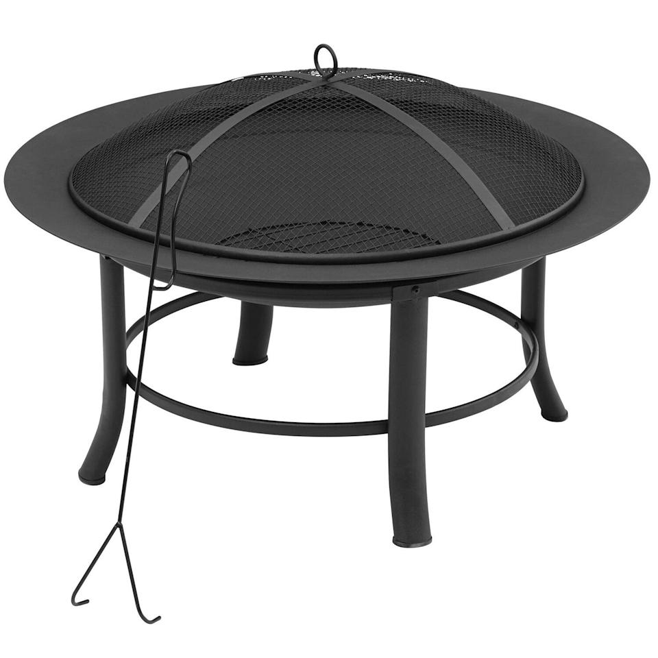 """Mainstays 28"""" Fire Pit with PVC Cover and Spark Guard"""