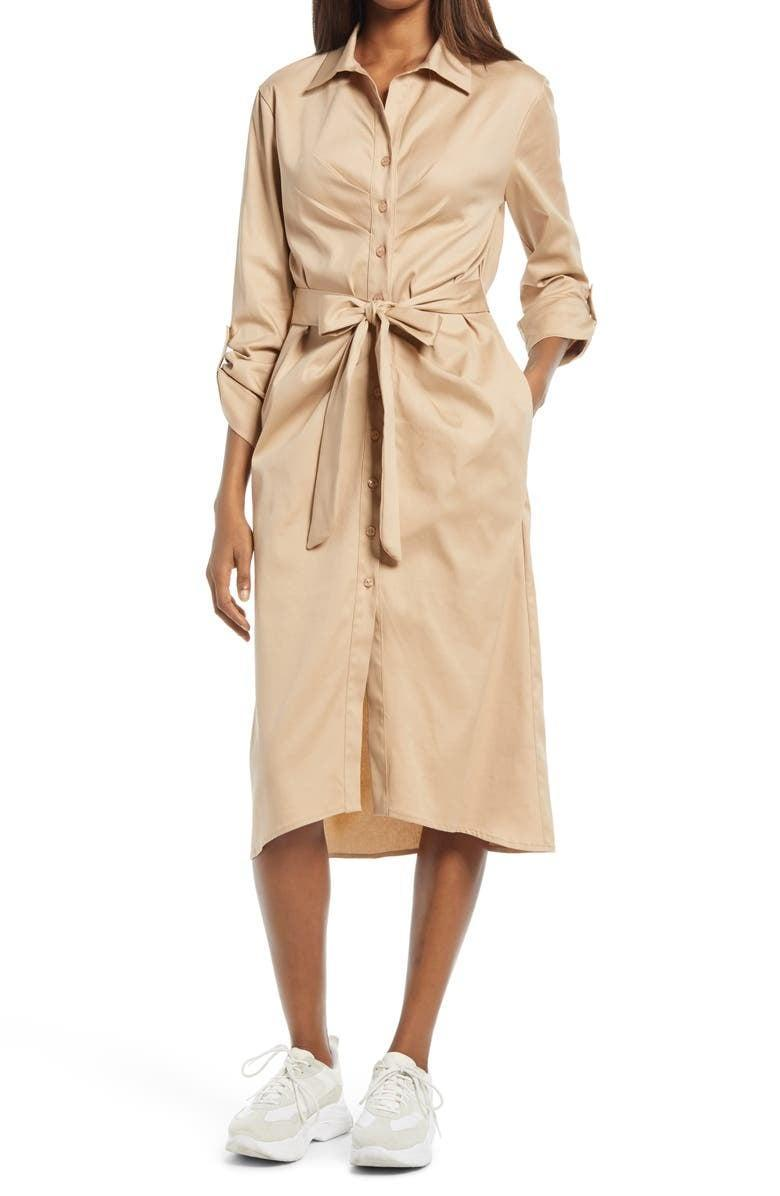 <p>If you want a professional-looking dress that is also stylish, we found your match. The <span>Fraiche by J Tie Front Long Sleeve Shirtdress</span> ($110) is easy to dress up with heels and down with sneakers. Plus, the lightweight material is ideal for summer.</p>