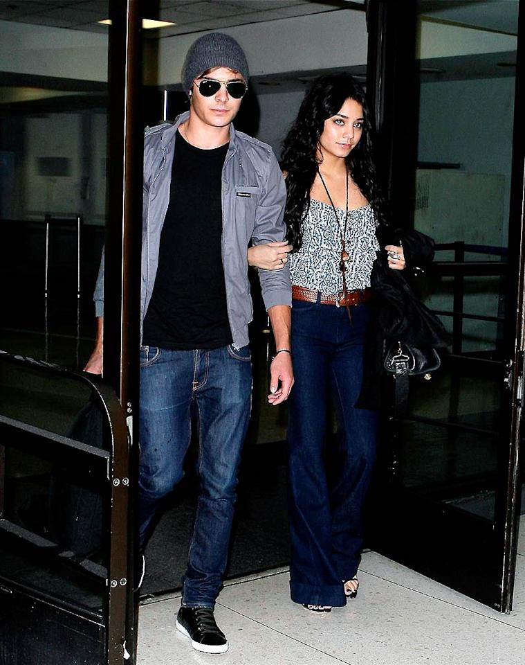 "Zac Efron and Vanessa Hudgens were spotted returning to L.A. from their whirlwind promotional tour in Europe last Thursday. Perhaps the ""High School Musical"" sweethearts will get a little R&R at Vanessa's newly purchased $2.75 million Tuscan-style home in Studio City, CA. <a href=""http://www.x17online.com"" target=""new"">X17 Online</a> - October 1, 2008"