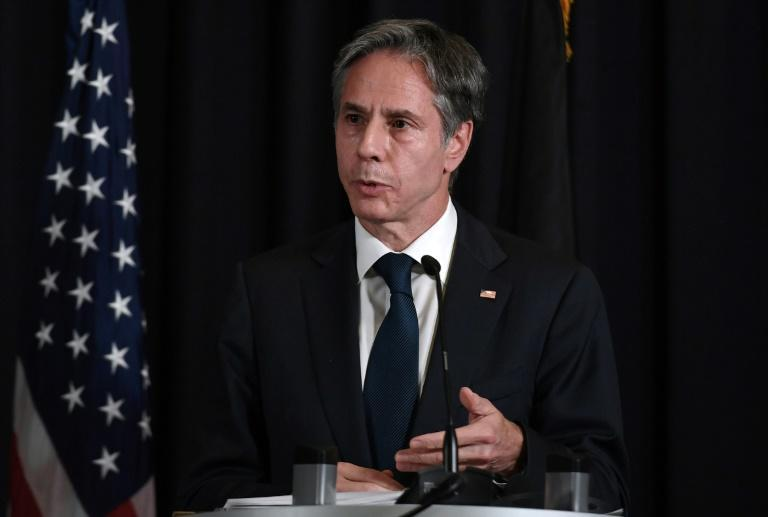 Secretary of State Antony Blinken has said the United States is pressing the Taliban to allow the charter flights to take off (AFP/Olivier DOULIERY)