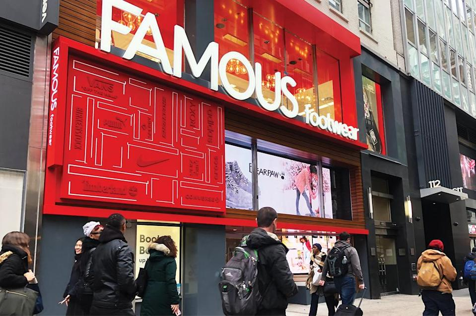Famous Footwear's Manhattan store relocated in 2019 and received a design update. - Credit: Courtesy of Famous Footwear