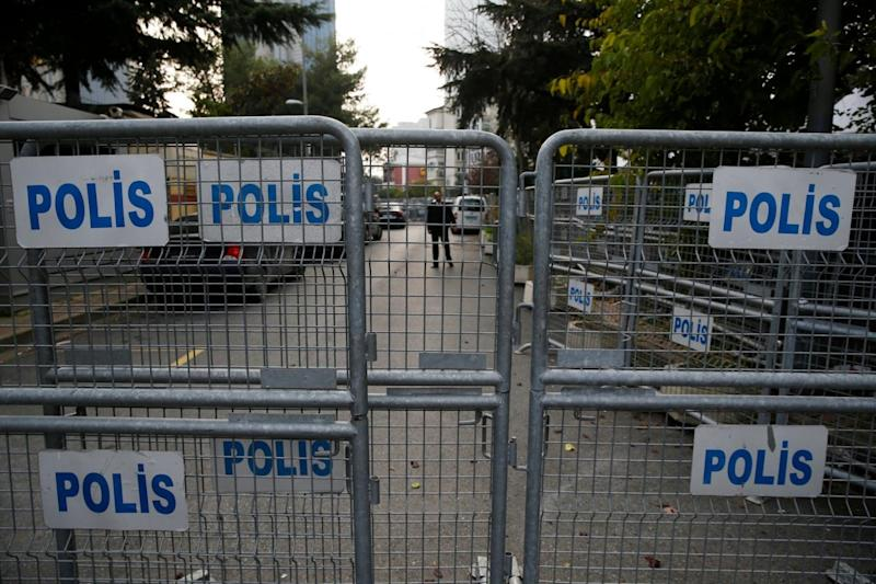 Barriers block the road leading to Saudi Arabia's consulate in Istanbul