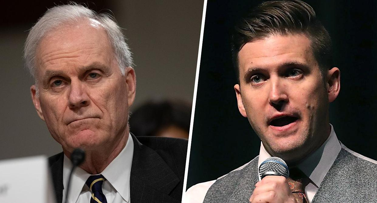 Former Navy Secretary Richard Spencer (Photo by Alex Edelman/Getty Images); White nationalist Richard Spencer (Photo by Joe Raedle/Getty Images)