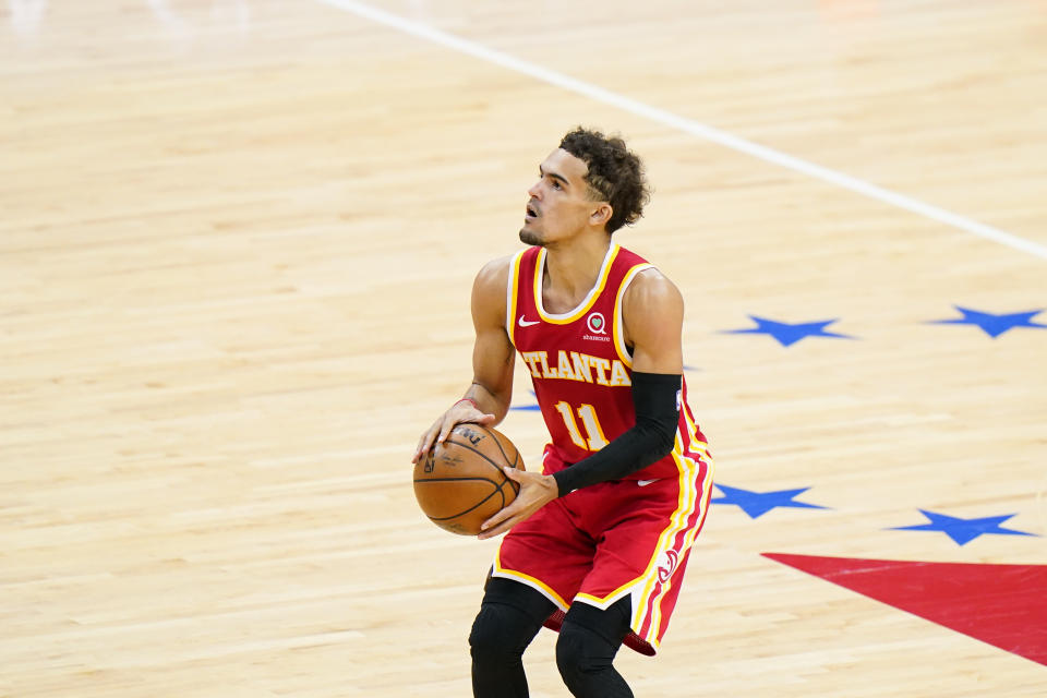 Atlanta Hawks' Trae Young plays during Game 2 in a second-round NBA basketball playoff series against the Philadelphia 76ers, Tuesday, June 8, 2021, in Philadelphia. (AP Photo/Matt Slocum)