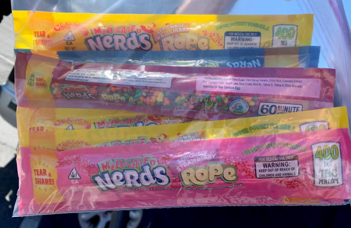 Image: Nerds Ropes candy that were infused with THC and distributed to families by the Utah Food Bank. (Roy City Police)