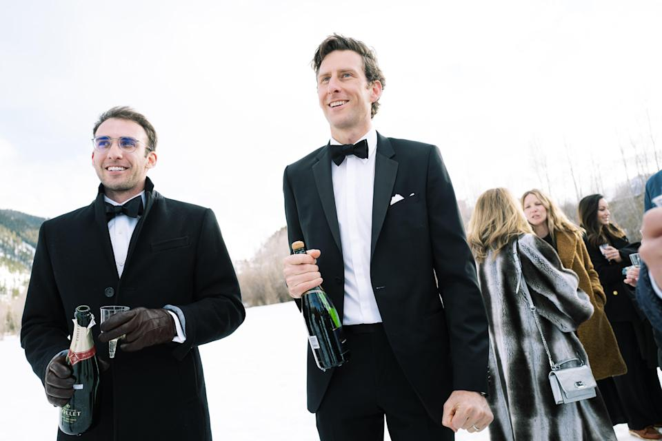 Peter with our good friend Luke Whiteman enjoying some much-deserved champagne after the ceremony. Our friends Newton Breiter and Matthew Elliott came through and brought some last-minute cases of champagne and plastic flutes to the meadow to ensure the celebration started immediately.