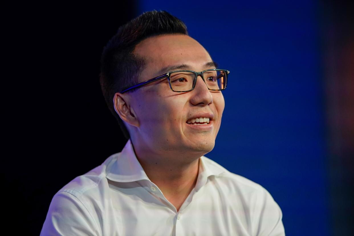 Tony Xu, co-founder and CEO of DoorDash speaks at the WSJTECH live conference in Laguna Beach, California, U.S. October 22, 2019.    REUTERS/ Mike Blake