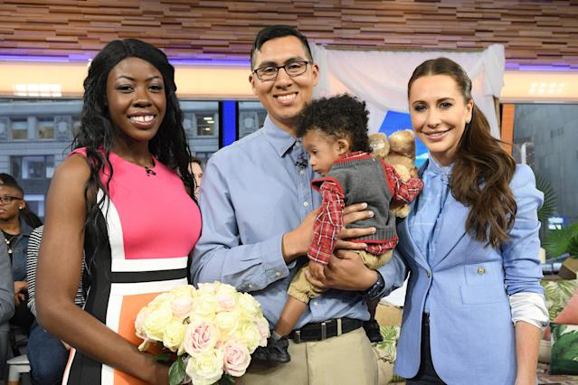 Jessica Mulroney with Bobbie Case-Akins and Alonzo Vallecillo who won a complete wedding giveaway planned by her on Good Morning America. (Getty Images)