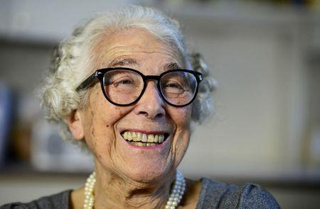 FILE PHOTO: British children's writer and illustrator Judith Kerr chats as she sits in her kitchen at her home in west London