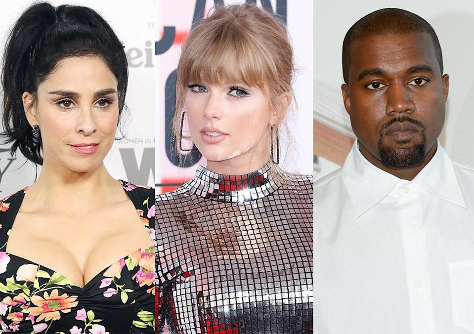 Sarah Silverman, left, is blasting the GOP for hypocrisy over opposite reactions to political involvement by Taylor Swift and Kanye West. (Photos: Getty Images)