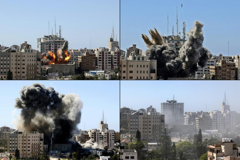 This combination of pictures shows the Jala Tower housing international media outlets in Gaza City being hit by an Israeli air strike and collapsing on May 15