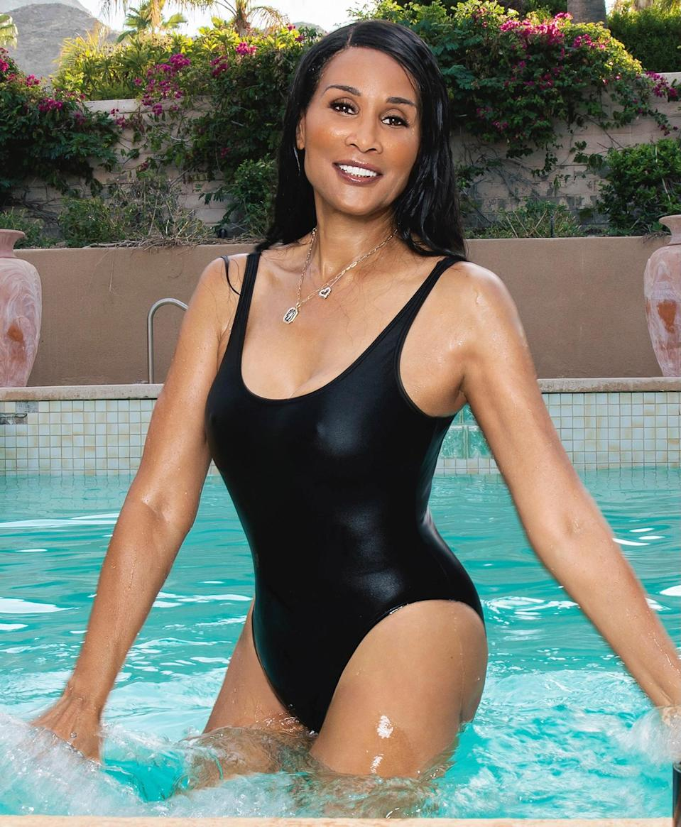 <p>Supermodel Beverly Johnson, who recently announced that she's the new brand ambassador for Retrouvé skincare, poses in a sleek black swimsuit on her 68th birthday on Tuesday in Rancho Mirage, California. </p>