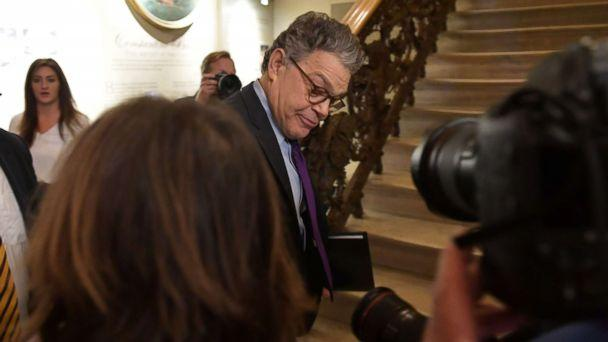 PHOTO: Democratic Senator Al Franken, under mounting pressure from within his own camp over multiple allegations of sexual misconduct, arrives to make an announcement, Dec. 7, 2017 on Capitol Hill in Washington,D.C. (Mandel Ngan/AFP/Getty Images)