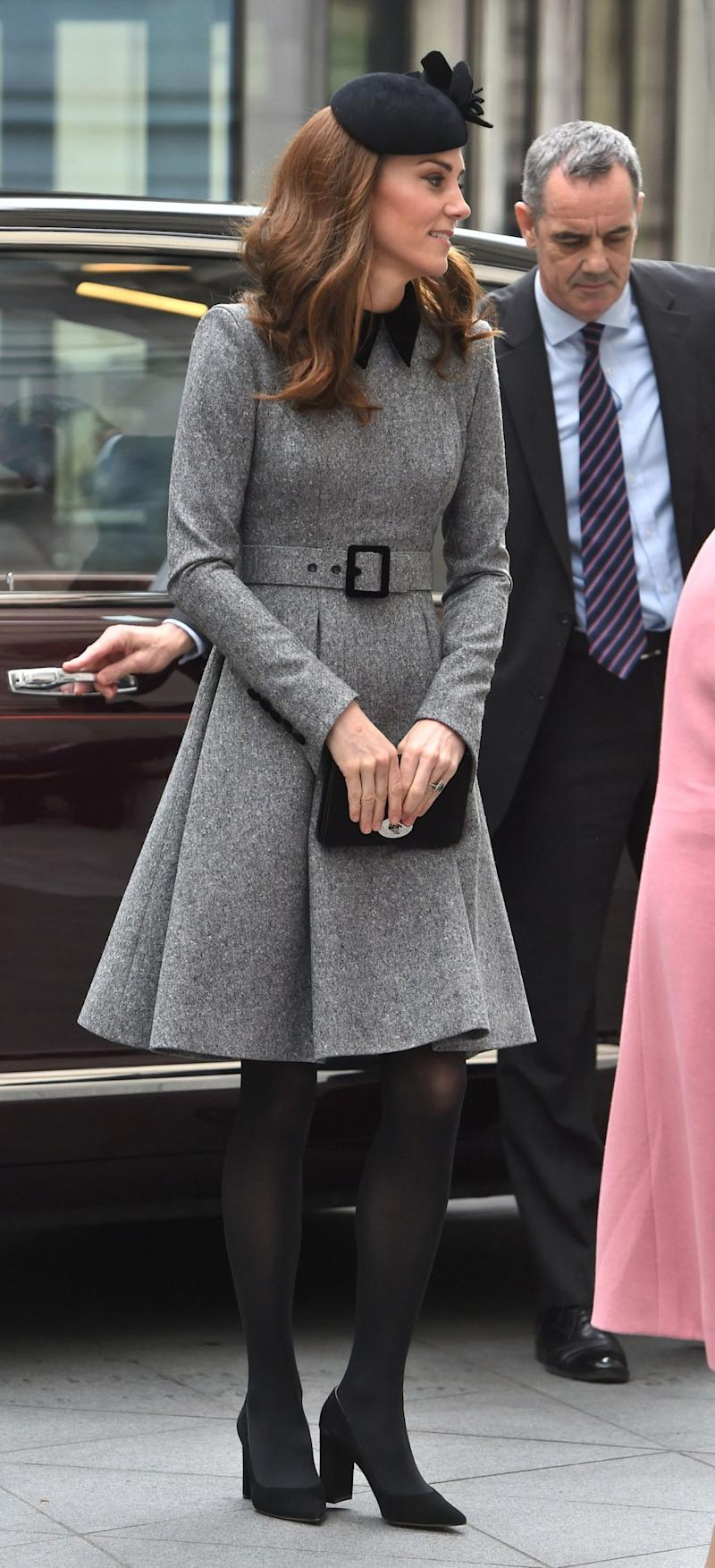 Kate Middleton wore a Catherine Walker & Co coat dress (PA)