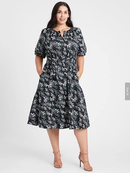 <p>Patterns are always fun and eye-catching on Zoom and we love the sleeves of this <span>Banana Republic Poplin Midi Dress</span> ($149).</p>