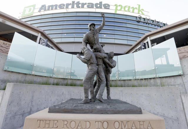 "The Royals and <a class=""link rapid-noclick-resp"" href=""/mlb/teams/det"" data-ylk=""slk:Tigers"">Tigers</a> will reportedly kick off the 2019 College World Series week with a game at TD Ameritrade Park. (AP)"