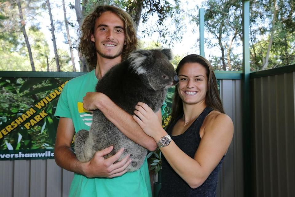 PERTH, AUSTRALIA – DECEMBER 30: Maria Sakkari and Stefanos Tsitsipas of Greece pose with a koala at Caversham Wildlife Centre during day two of the 2019 Hopman Cup at RAC Arena on December 30, 2018 in Perth, Australia. (Photo by Will Russell/Getty Images)