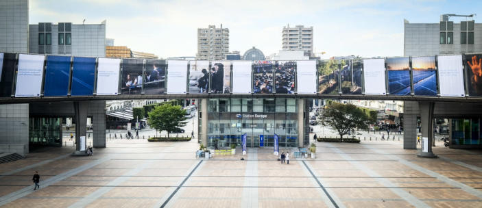New European Parliament election campaign posters in Brussels (European Parliament)