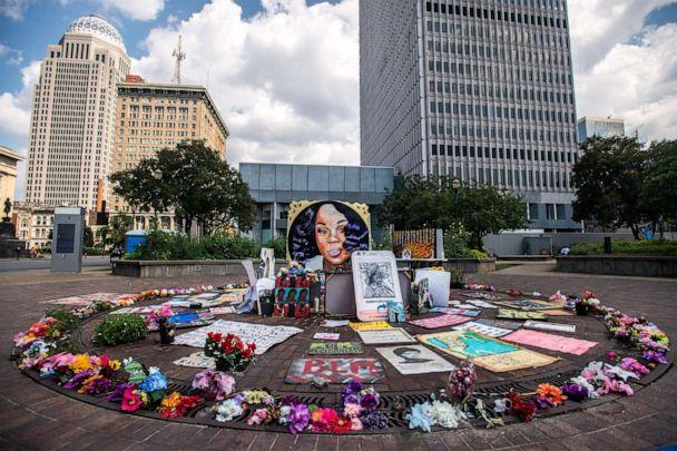 PHOTO: In this Aug. 24, 2020, file photo, the Breonna Taylor Memorial at Jefferson Square Park is shown in Louisville, KY. (Imagespace via ZUMA Wire via Newscom, FILE)