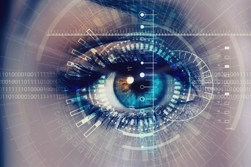 biometric sensors security scanners in vehicles close up of woman eye process scanning