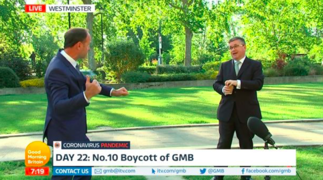 Jonathan Swain (left) asked Justice Secretary Robert Buckland (right) for an interview live on air. (ITV)