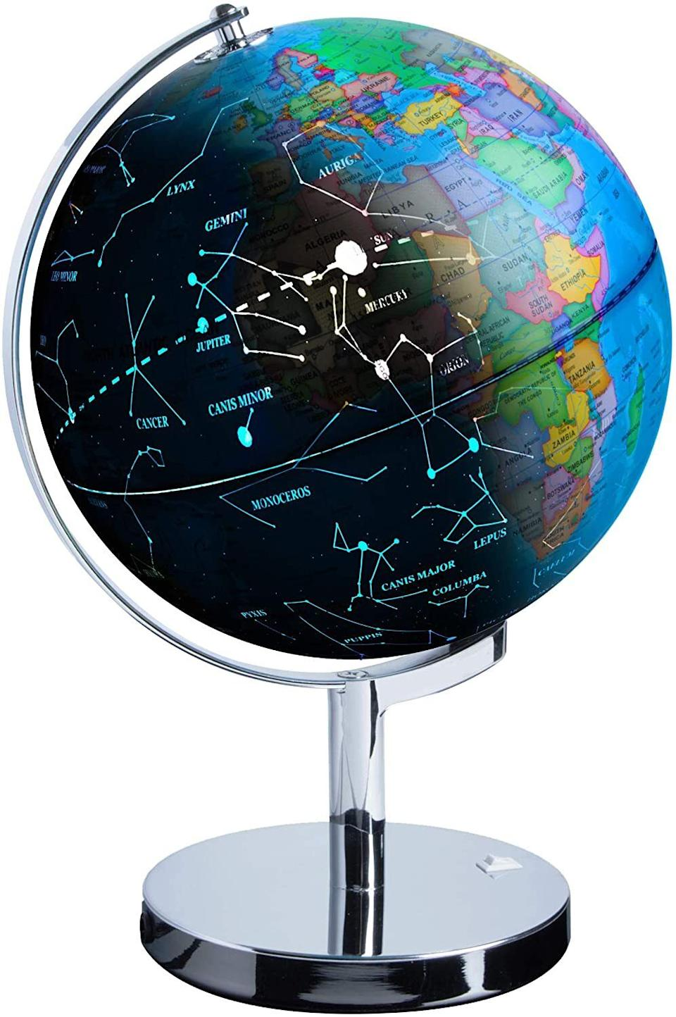 """You canilluminate your child about not only the world they live in, but the stars in the heavens above. And if that gets way too scary (or deep), that night-light will sure come in handy, too.<br /><br /><strong>Promising review:</strong>""""This is a wonderful globe. I bought this for my nephew and this is a fun way to give him the basics. He enjoys learning countries and he loves the night-light.<strong>The constellations are pretty cool in the dark. The size is perfect and the quality is amazing. The countries and regions are clear and they are easy to read. The base is strong and stable. It doesn't tip when spinning.</strong>The guidebook has more detailed information about the constellations and it's location. This globe definitely captured my nephew's attention and he is learning with interest. Overall, this is a perfect globe and can't go wrong with it."""" --<a href=""""https://www.amazon.com/dp/B071GRSLS7?tag=huffpost-bfsyndication-20&ascsubtag=5709944%2C9%2C32%2Cd%2C0%2C0%2C0%2C962%3A1%3B901%3A2%3B900%3A2%3B974%3A3%3B975%3A2%3B982%3A2%2C13752245%2C0"""" target=""""_blank"""" rel=""""noopener noreferrer"""">Lucky10z</a><br /><br /><strong>Get it from Amazon for <a href=""""https://www.amazon.com/dp/B071GRSLS7?tag=huffpost-bfsyndication-20&ascsubtag=5709944%2C9%2C32%2Cd%2C0%2C0%2C0%2C962%3A1%3B901%3A2%3B900%3A2%3B974%3A3%3B975%3A2%3B982%3A2%2C13752245%2C0"""" target=""""_blank"""" rel=""""noopener noreferrer"""">$42.45</a>.</strong>"""
