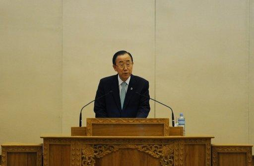 UN Secretary General Ban Ki-moon delivers an historic speech in the Myanmar parliament in Naypyidaw