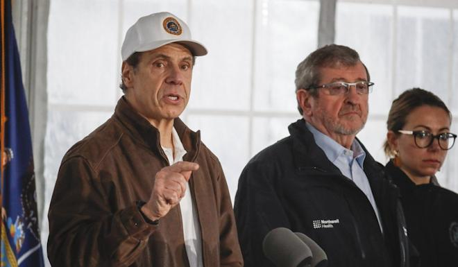 New York Governor Andrew Cuomo making a point on Friday at a Covid-19 coronavirus infection testing facility in New Rochelle. Photo: AP
