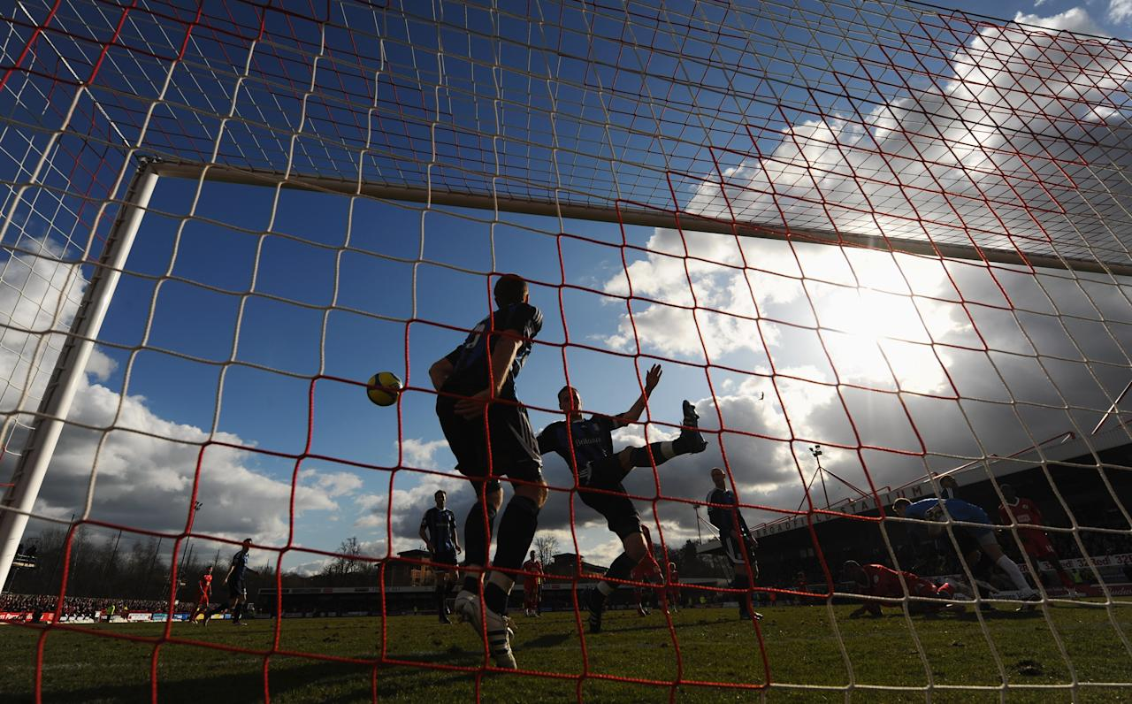 CRAWLEY, WEST SUSSEX - FEBRUARY 19:  Danny Collins and Ryan Shawcross of Stoke City clear from the goal line during the FA Cup with Budweiser Fifth Round match between Crawley Town and Stoke City at Broadfield Stadium on February 19, 2012 in Crawley, West Sussex.  (Photo by Mike Hewitt/Getty Images)