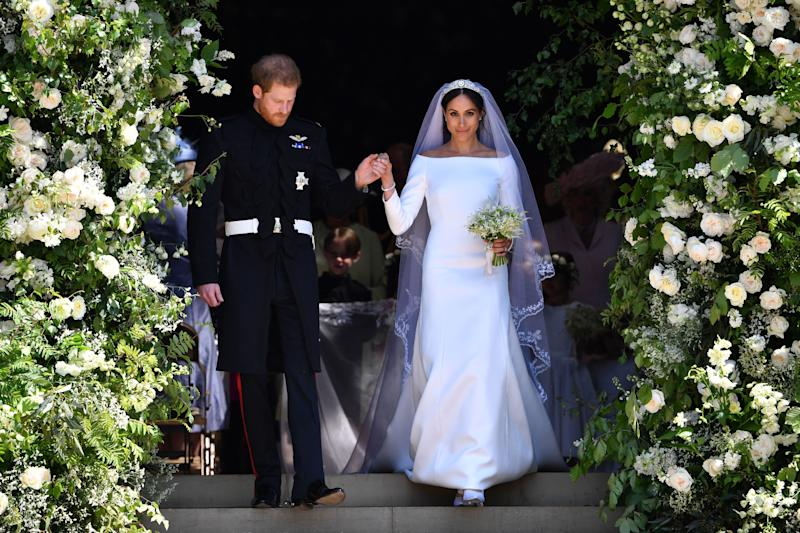 <p>WHO: Meghan, Duchess of Sussex</p> <p>WHAT: Givenchy Haute Couture by Clare Waight Keller</p> <p>WHERE: At the royal wedding, Windsor, England</p> <p>WHEN: May 19, 2018</p>