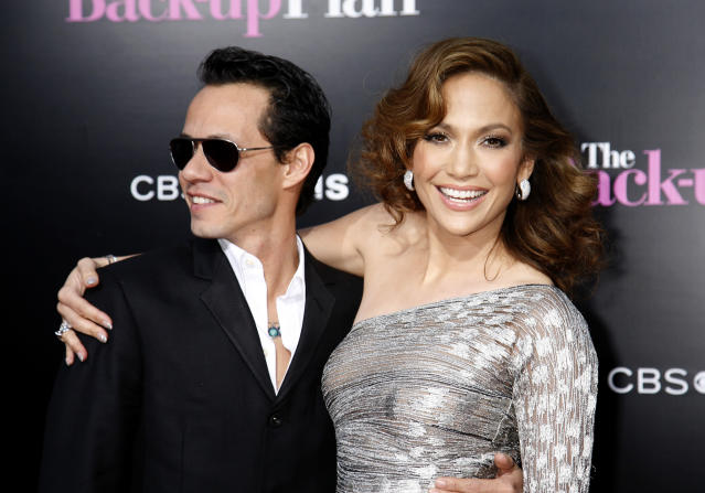 """Cast member Jennifer Lopez arrives with husband Marc Anthony for the premiere of the film """"The Back-up Plan"""" in Los Angeles."""
