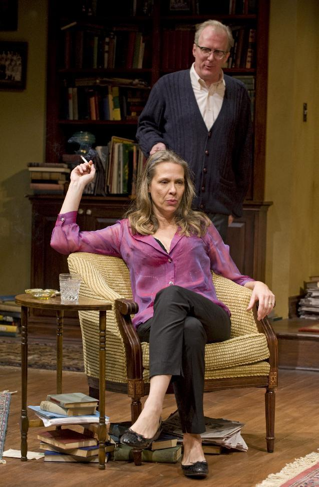 """This theater image released by Jeffrey Richards Associates shows Amy Morton and Tracy Letts in a scene from """"Who's Afraid of Virginia Woolf."""" (AP Photo/Jeffrey Richards Associates, Michael Brosilow)"""