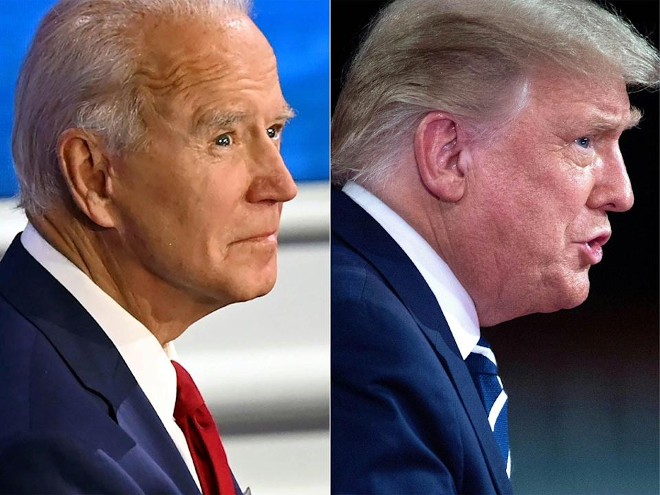 Trump and Biden evoke different brands of manliness – an old-fashioned machismo for Trump and a manly but caring boy-next-door for Biden (AFP via Getty Images)