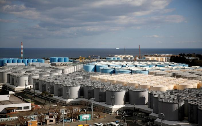 Storage tanks for radioactive water are seen at tsunami-crippled Fukushima Daiichi nuclear power plant in Okuma - REUTERS