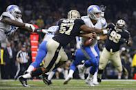 <p>Alex Okafor #57 of the New Orleans Saints forces a fumble on Matthew Stafford #9 of the Detroit Lions during the first half of a game at the Mercedes-Benz Superdome on October 15, 2017 in New Orleans, Louisiana. (Photo by Jonathan Bachman/Getty Images) </p>