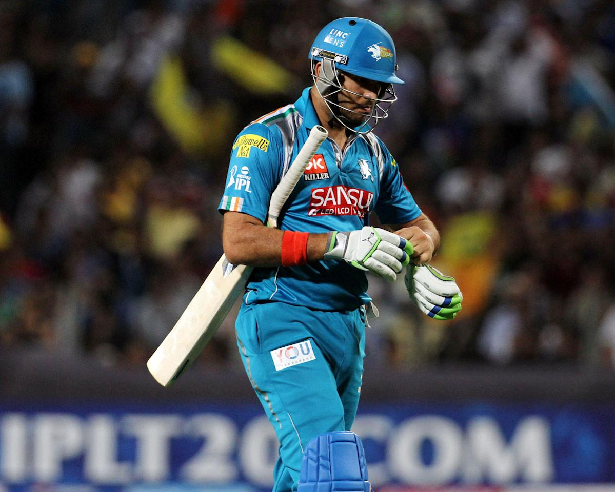 Pune Warriors player Yuvraj Singh walks back after getting out during match 42 of the Pepsi Indian Premier League ( IPL) 2013  between The Pune Warriors India and the Chennai Superkings held at the Subrata Roy Sahara Stadium, Pune on the 30th April  2013. (BCCI)