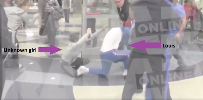 Louis falls to the floor again, this time with the girl who attacked Eleanor [RADAR ONLINE]