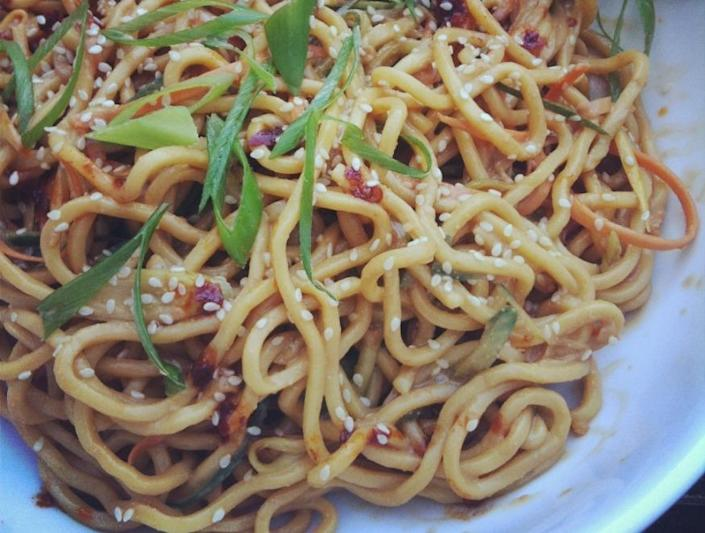"""<p>Sometimes, the only thing you want is a big bowl of carbs. Try<a href=""""http://www.helengraves.co.uk/2012/08/20/cold-sesame-noodles/"""" rel=""""nofollow noopener"""" target=""""_blank"""" data-ylk=""""slk:this option"""" class=""""link rapid-noclick-resp""""> this option</a> - great hot or cold - by mixing noodles with crunchy slivers of shredded carrot and cucumber and adding a sesame dressing. <i>[Photo: Helen Graves]</i></p>"""
