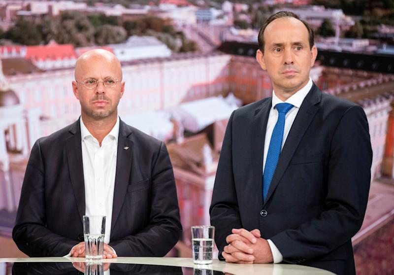 (From L) Top candidate in Brandenburg of the far-right AfD party Andreas Kalbitz and top candidate in Brandenburg for the conservative CDU party Ingo Senftleben take part in a TV show at the German channel ARD. Photo: CHRISTOPH SOEDER/AFP/Getty Images