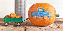 "<p>You've been to the pumpkin patch and your ready to display that haul. Create a home for all those mini pumpkins and replicate your favorite possession - that 1959 Ford F15o!<br></p><p><strong>Make the Pickup Truck Pumpkin:</strong> Turn an oblong pumpkin on its side, then <a href=""http://clv.h-cdn.co/assets/downloads/1472485017_-_pumpkintemplates.pdf"" rel=""nofollow noopener"" target=""_blank"" data-ylk=""slk:trace the template"" class=""link rapid-noclick-resp"">trace the template</a>. Use a <a href=""https://www.amazon.com/dp/B019BUBMHY/?tag=syn-yahoo-20&ascsubtag=%5Bartid%7C10050.g.279%5Bsrc%7Cyahoo-us"" rel=""nofollow noopener"" target=""_blank"" data-ylk=""slk:potter's needle tool"" class=""link rapid-noclick-resp"">potter's needle tool</a> to indent the outline. Chisel out the truck's window and outline using a <a href=""https://www.amazon.com/SE-4PT8-8-Piece-Pottery-Tool/dp/B0006VWRMW?tag=syn-yahoo-20&ascsubtag=%5Bartid%7C10050.g.279%5Bsrc%7Cyahoo-us"" rel=""nofollow noopener"" target=""_blank"" data-ylk=""slk:small potter's ribbon tool"" class=""link rapid-noclick-resp"">small potter's ribbon tool</a>, then paint truck desired color using <a href=""https://www.amazon.com/dp/B01HWUHOQI/ref=twister_B00N9V6542?tag=syn-yahoo-20&ascsubtag=%5Bartid%7C10050.g.279%5Bsrc%7Cyahoo-us"" rel=""nofollow noopener"" target=""_blank"" data-ylk=""slk:acrylic paint"" class=""link rapid-noclick-resp"">acrylic paint</a>. Stain three <a href=""https://www.amazon.com/Perfect-Stix-Craft-Picks-90-1000/dp/B01MR827DE/?tag=syn-yahoo-20&ascsubtag=%5Bartid%7C10050.g.279%5Bsrc%7Cyahoo-us"" rel=""nofollow noopener"" target=""_blank"" data-ylk=""slk:mini wooden craft sticks"" class=""link rapid-noclick-resp"">mini wooden craft sticks</a> with wood stain; cut off rounded ends (reserving two) and cut one in half. Use <a href=""https://www.amazon.com/Glue-Gun-TopElek-Temperature-Projects/dp/B0776MFZ2W/?tag=syn-yahoo-20&ascsubtag=%5Bartid%7C10050.g.279%5Bsrc%7Cyahoo-us"" rel=""nofollow noopener"" target=""_blank"" data-ylk=""slk:hot-glue"" class=""link rapid-noclick-resp"">hot-glue</a> to attach the sticks on truck bed (trimming as needed) to create the railing and rounded ends to create bumpers. Hot-glue buttons for wheels. Attach a <span class=""redactor-unlink"">toy trailer</span> and fill with mini pumpkins. <br></p>"