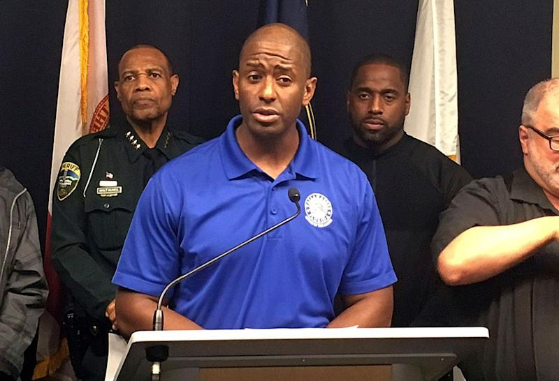 Andrew Gillum during a Hurricane Michael briefing on October 10.
