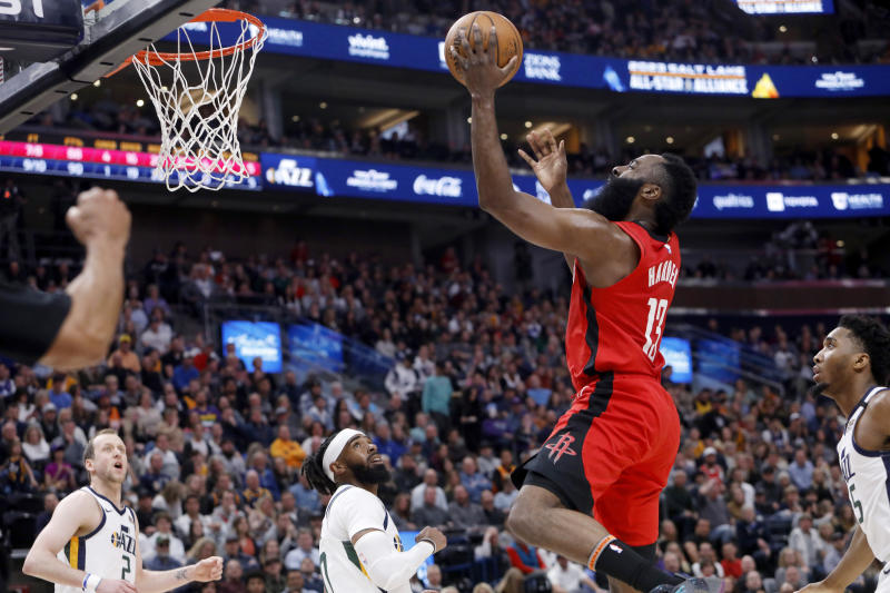 Houston Rockets' James Harden (13) shoots during the first half of the team's NBA basketball game against the Utah Jazz on Saturday, Feb. 22, 2020, in Salt Lake City. (AP Photo/Kim Raff)